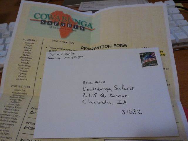 Registering for our African safari with Cowabunga Safaris!!!