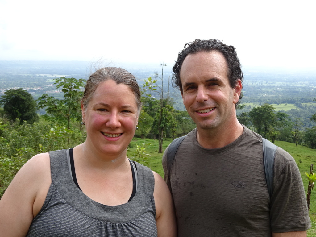 Hiking Cerro Chato - the start (we look so happy...and naive)