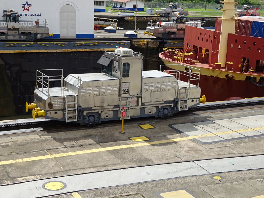 These modified train engines run on tracks next to the locks and help tow/brake the big ships.