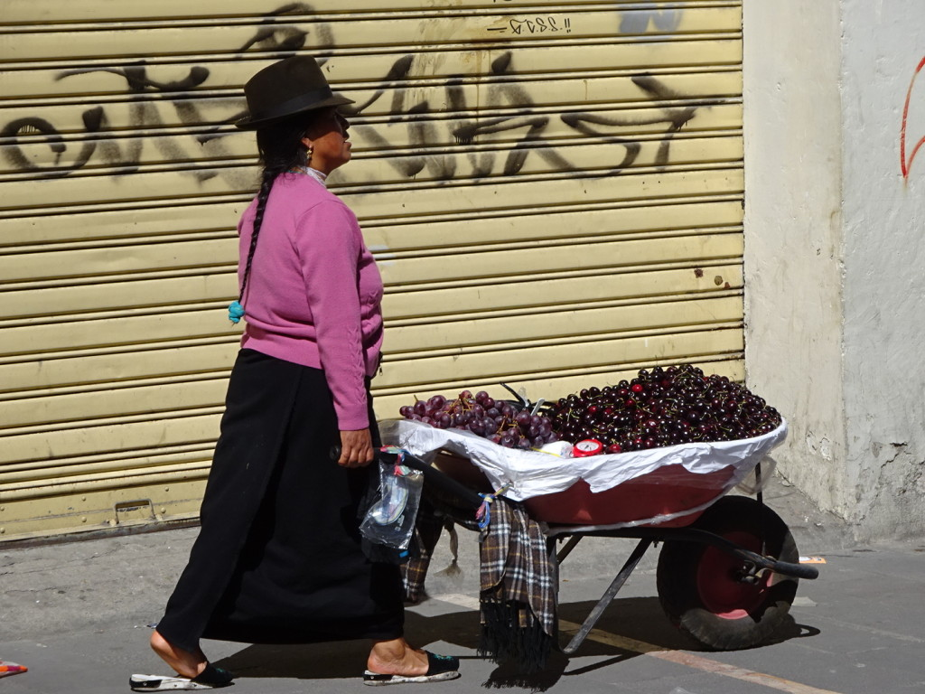 Women selling cherries and strawberries from wheel barrows are pretty common downtown.