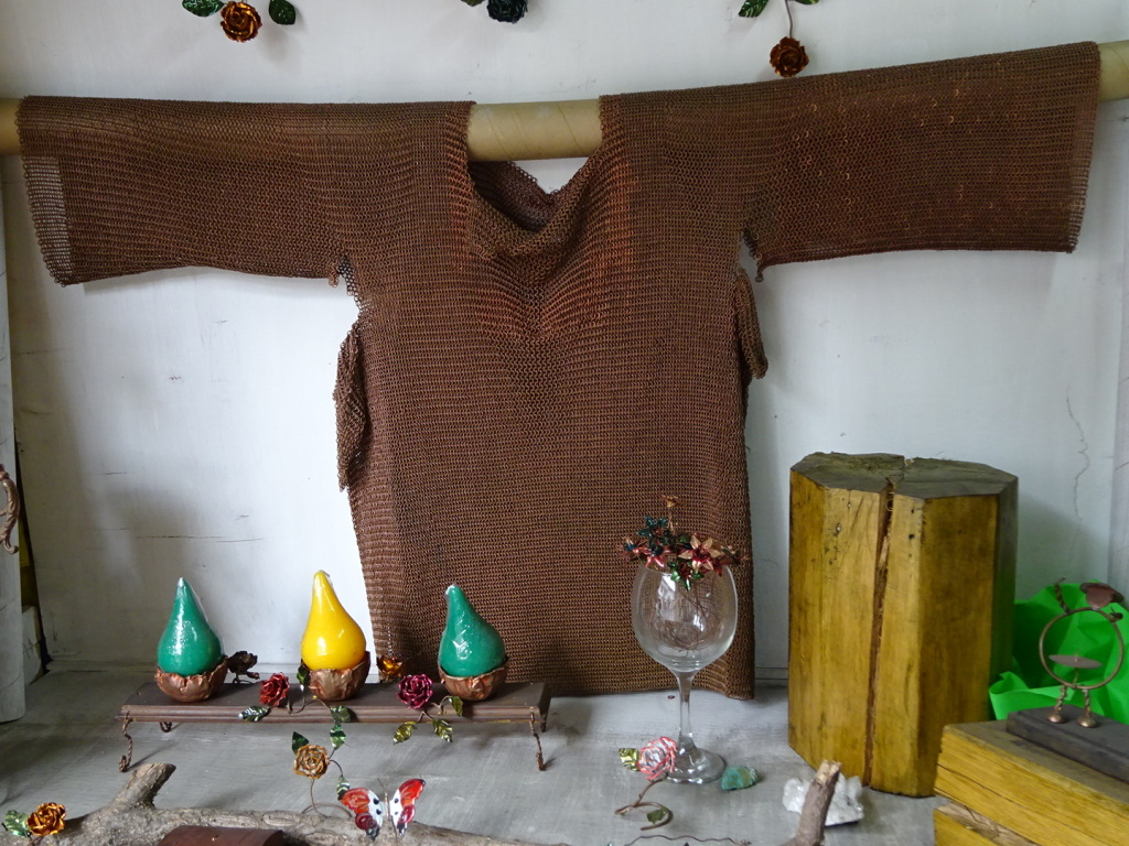Copper chainmail shirt! Took a LOT of little rings to make this guy.