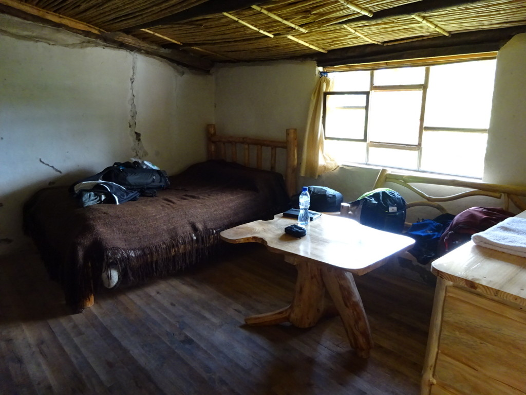 Our room!  All the furniture was made by Marcelo. There's also a chimnea, bunkbeds and a bathroom