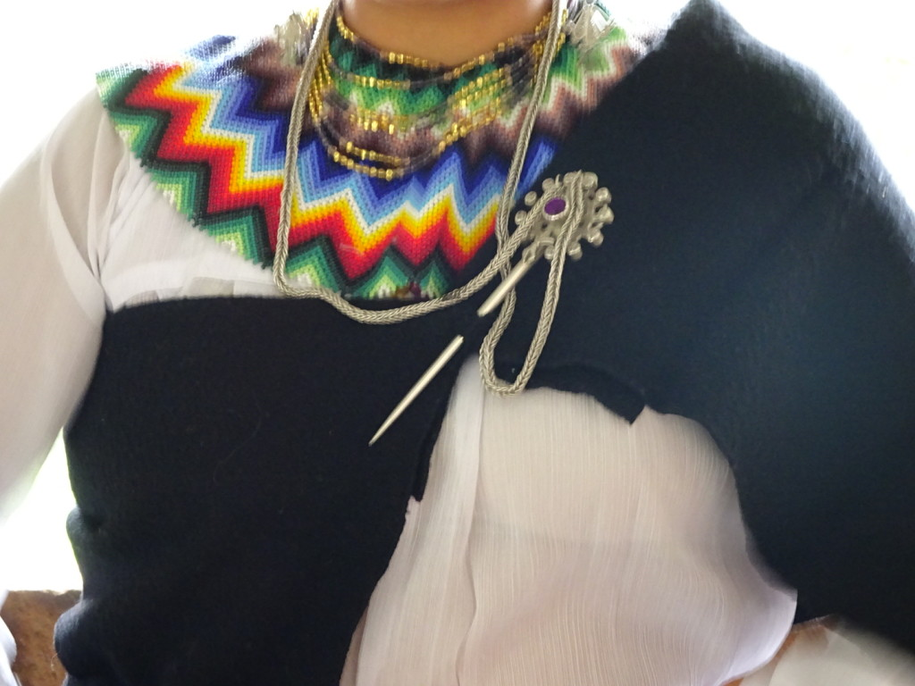 Here you can really see the beaded necklace, the shawl and the amazing silver pin holding the shawl closed.