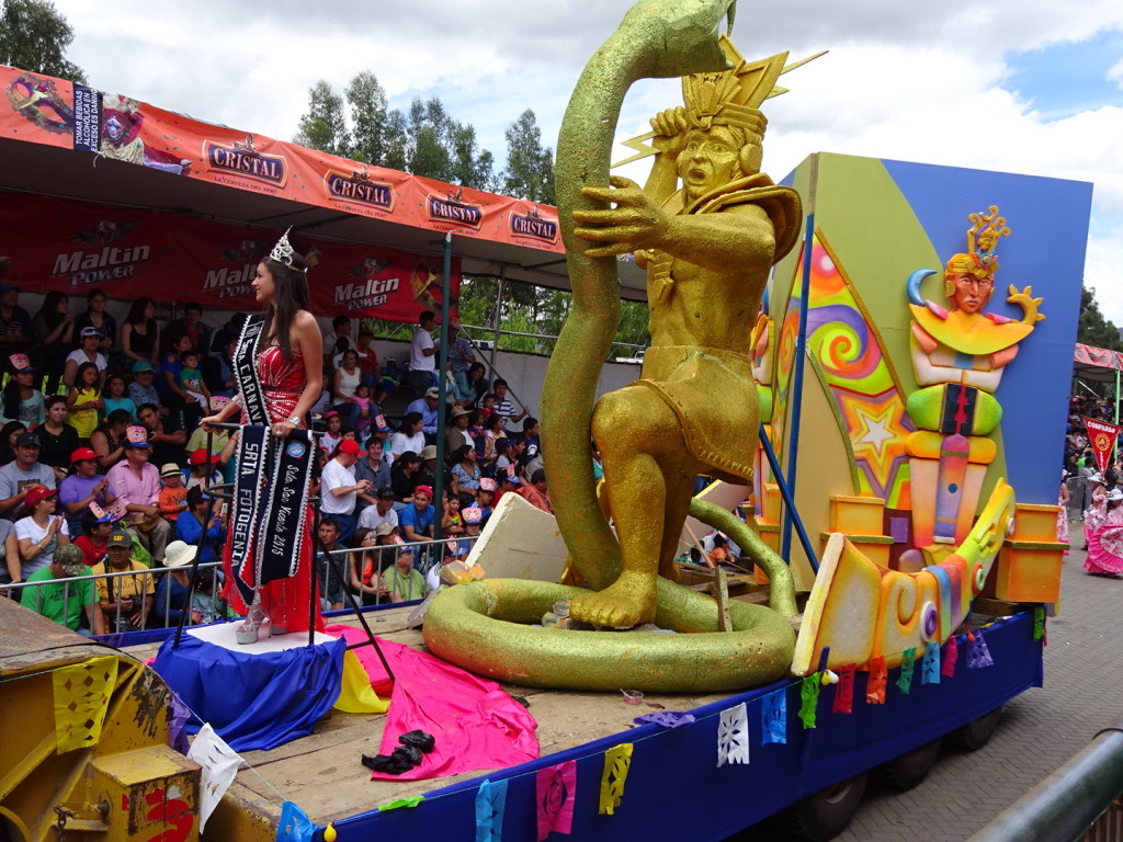Floats tended to have Incan imagery or local customs, and most all of them had queens waving from them!
