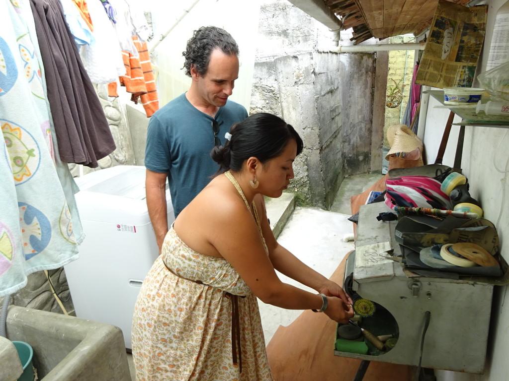 Cristina and the newly donated polishing machine!