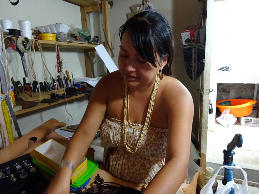 Cristina in her tiny workspace!
