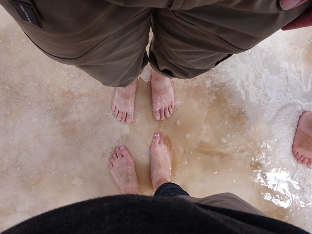 We all padded around barefoot on the salt...like all the world was our spa, we all walked away nicely exfoliated.