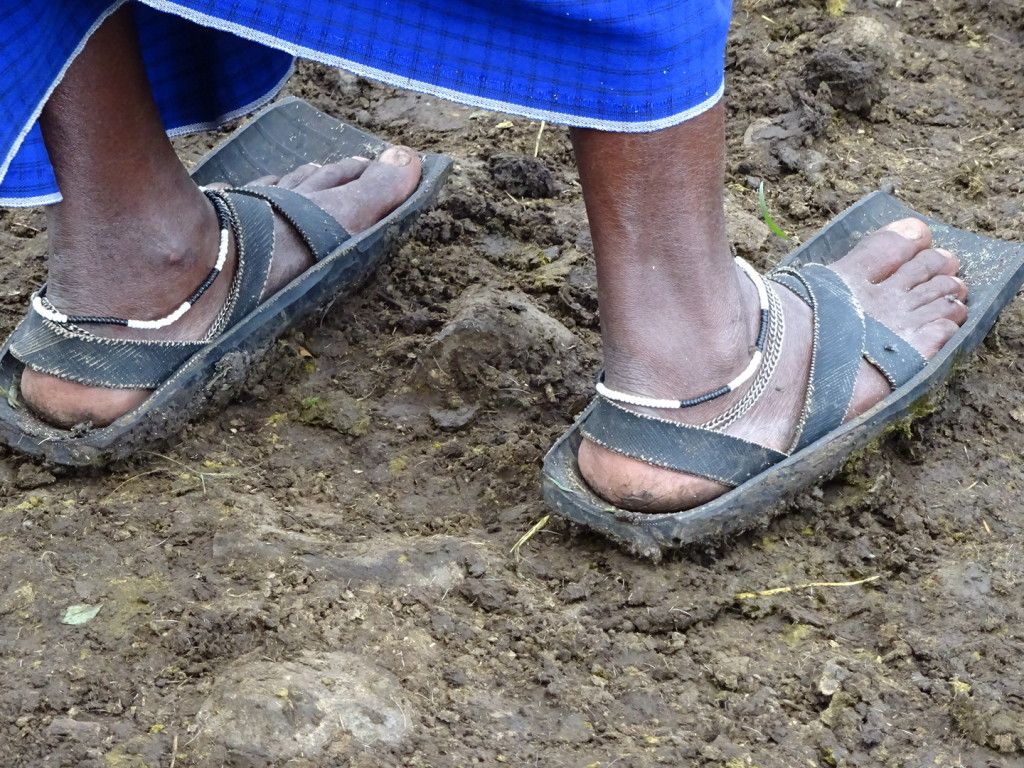 Typical Maasai footwear is made of recycled tires.