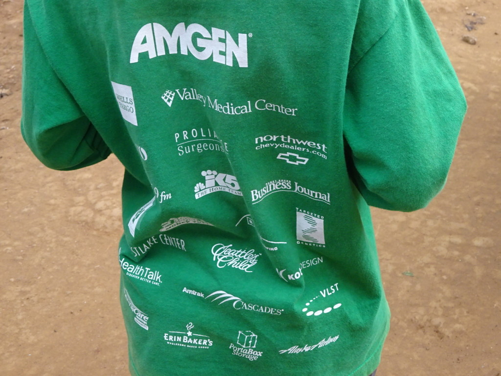 Our recylced t-shirts are put to good use in TZ; Amgen? Not sure if they are doing as well as the t-shirt.