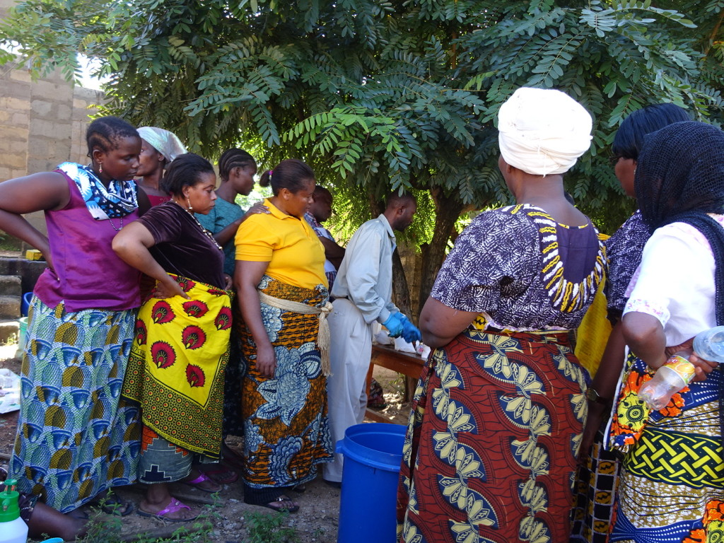 This is a picture from tie-dye day after the safari, but it's a great example of the wondeful colors and prints the women wear.
