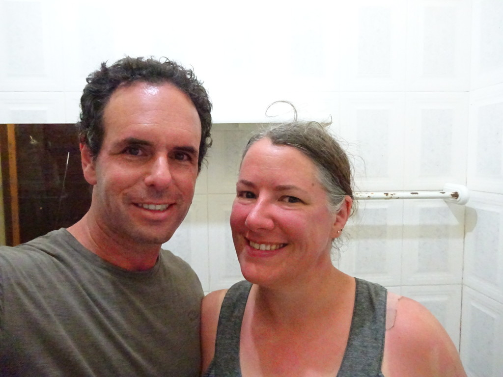 As close as proof that we have: our sunny faces after a day on the desserted island.