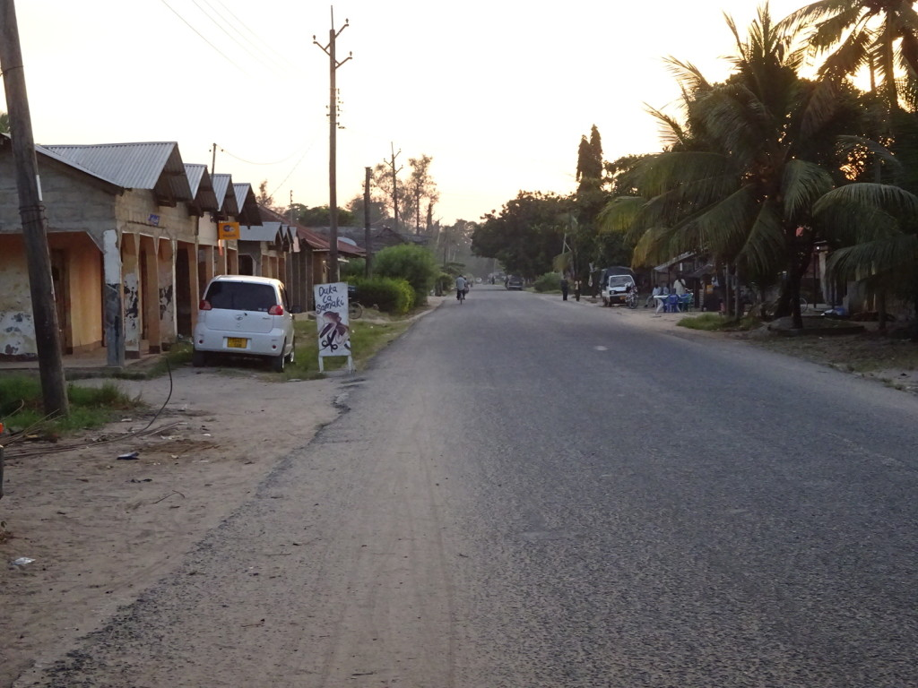 Street in Pangani. There were also some dirt road streets...this one was the  BIG street.