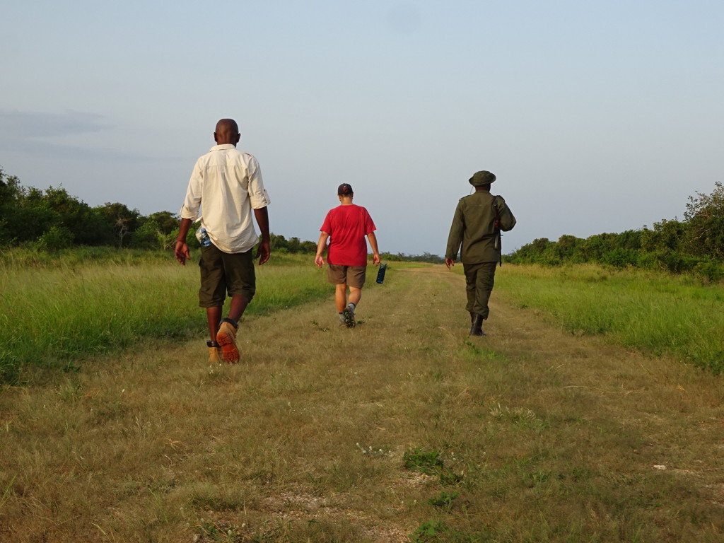 Walking on the airstrip as part of the walking safari.