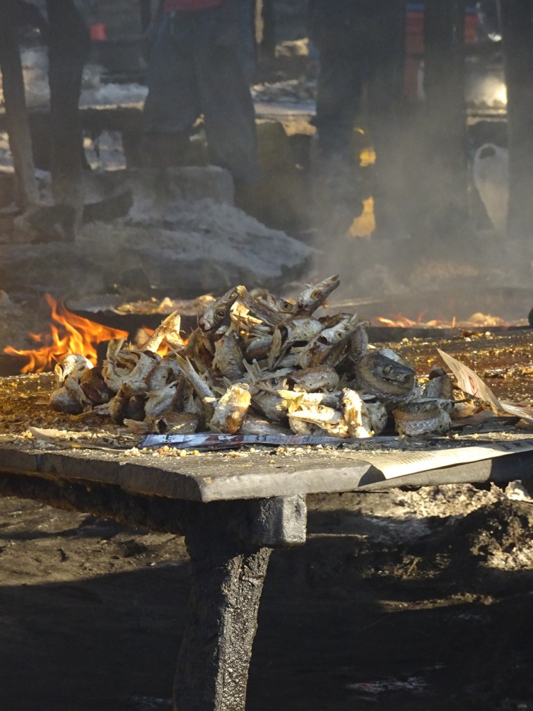 Fish fry...see the flames in the background?