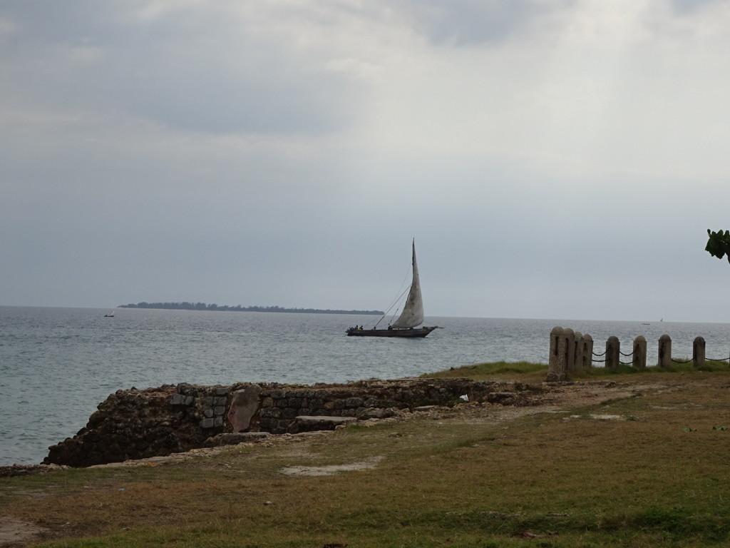 A dhow in the ocean.