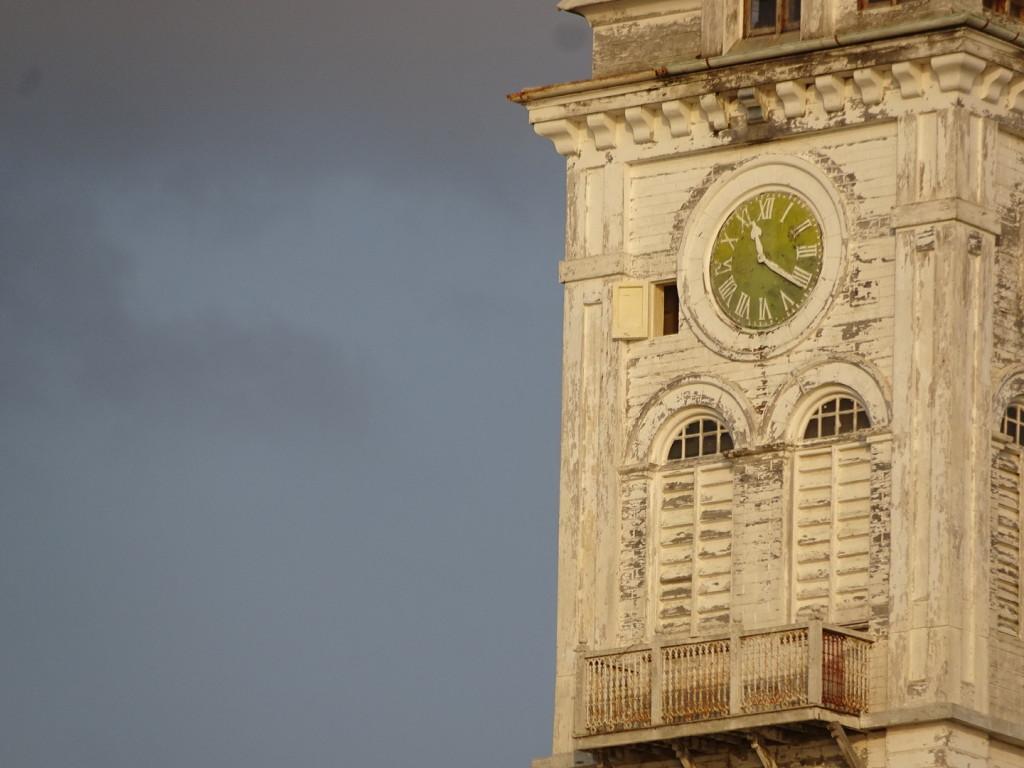 A cool clock tower at sunset in Zanzibar.