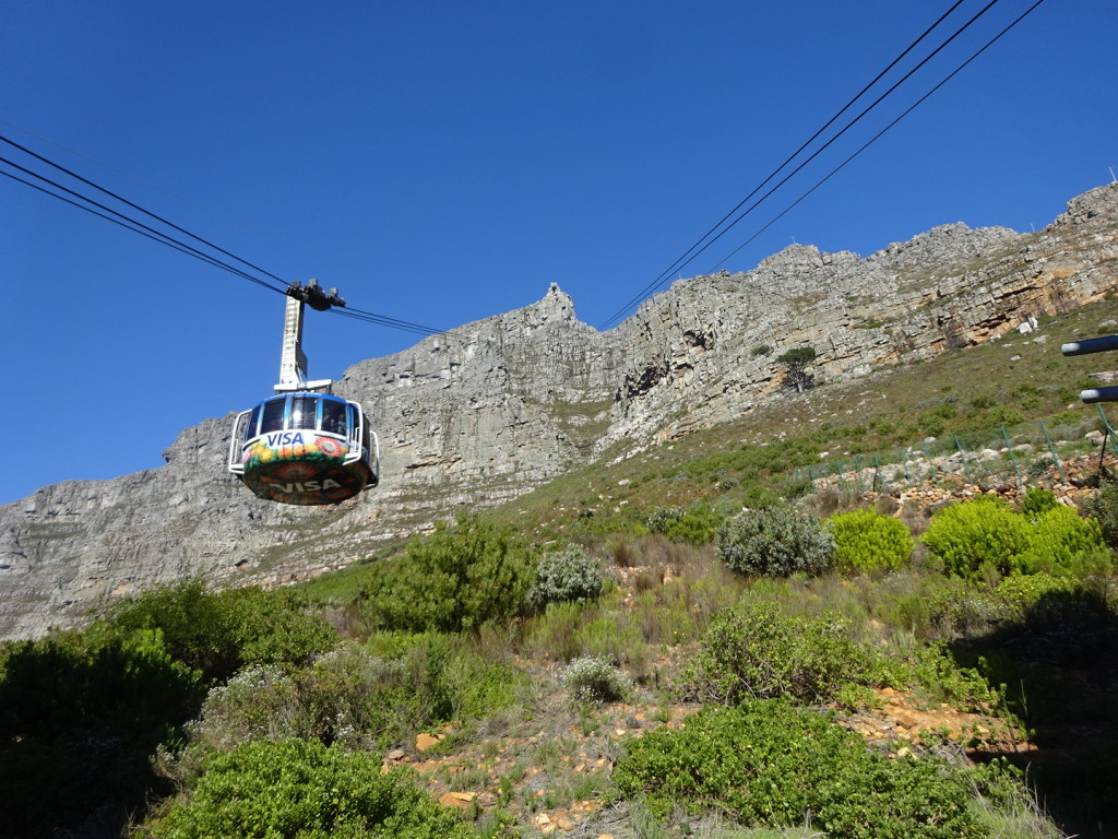 Table Mountain Cable Cars. We happily took the lift to the top.