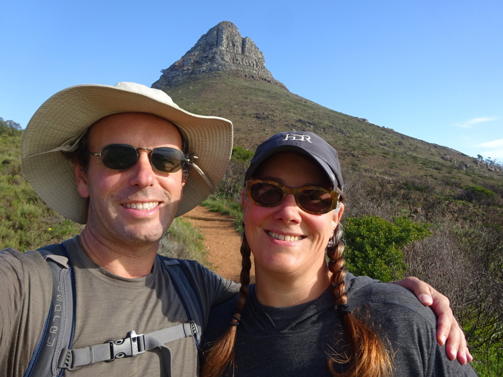 At the foot of Lion's Head. We had already walked up hill for 30 minutes and Anner was just pretending to be happy about what lay ahead.