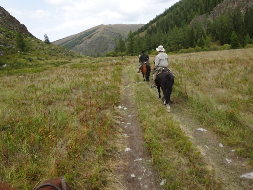 Aaron and I trotting back to camp.