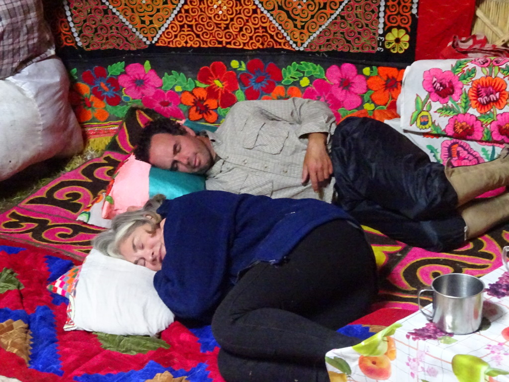 Aaron and Lisa fall fast asleep in the ger.