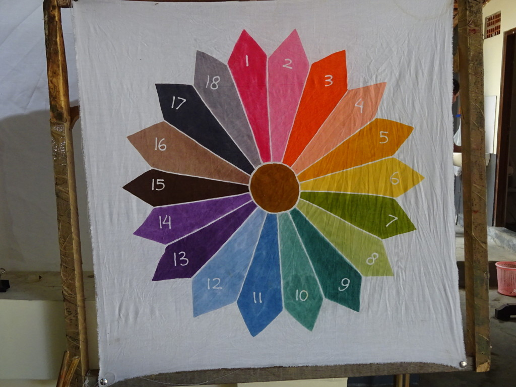 Happily they had made a paint wheel as many of the colors were VERY different on the brush vs. in the finished batik.