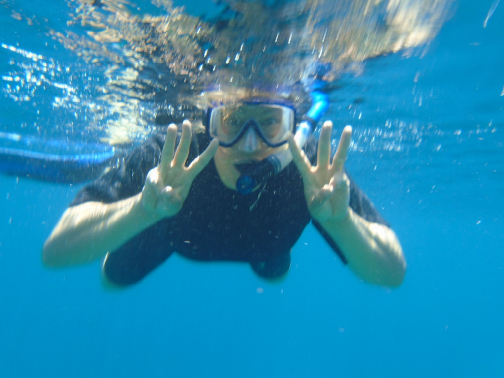 """Anner's underwater way of saying """"WOW! Did you see THAT?!"""""""