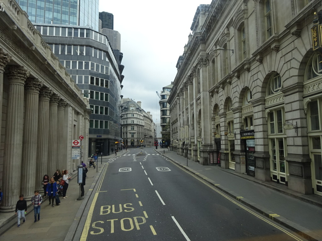 A fine London street as seen from the top deck of a classic double-decker bus!