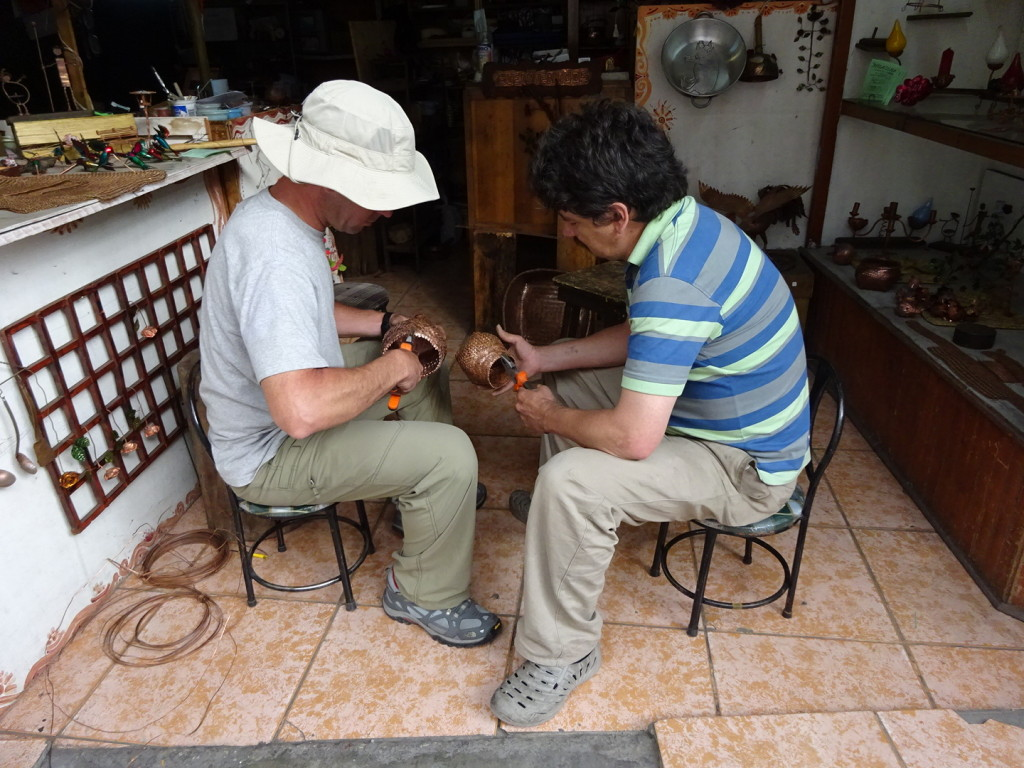 Copper basket weaving with Marco. This was the first time Aaron worked with a local artist and after this experience we were hooked. This would become a theme for the rest of the trip. Cuenca, Ecuador.