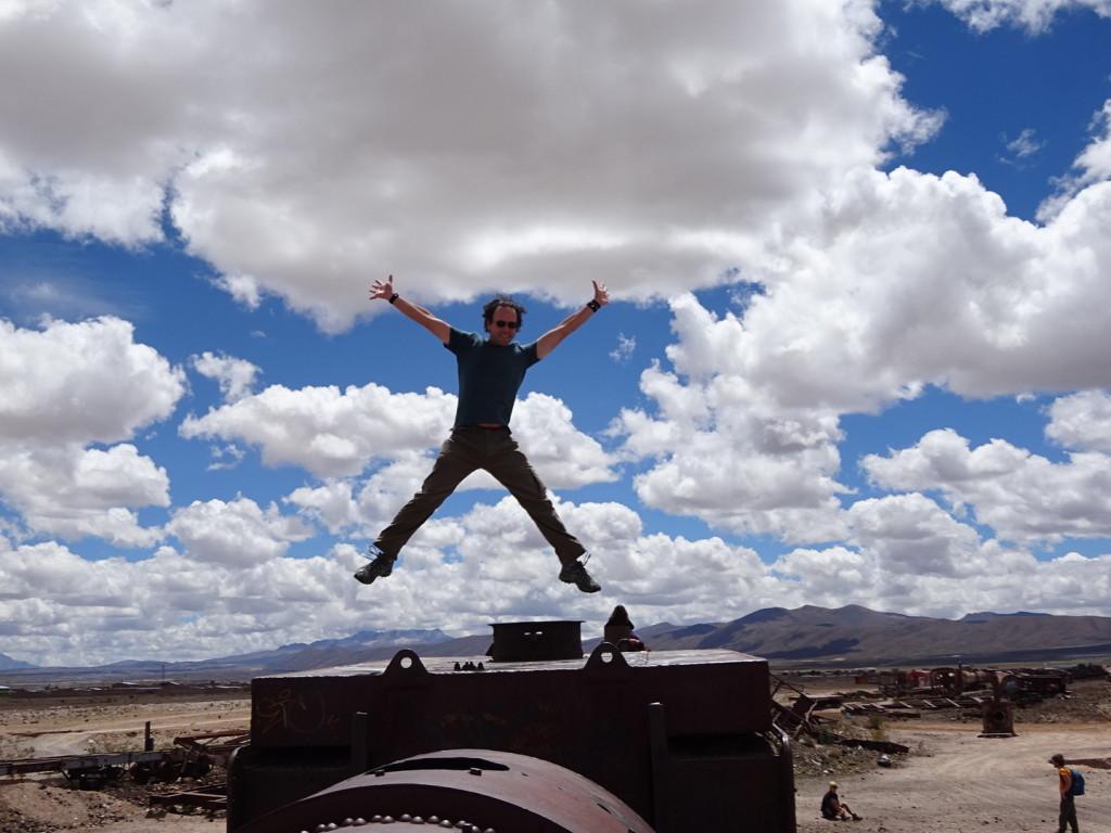Jump! Jump! The Train Graveyard in Uyunie, Bolivia.