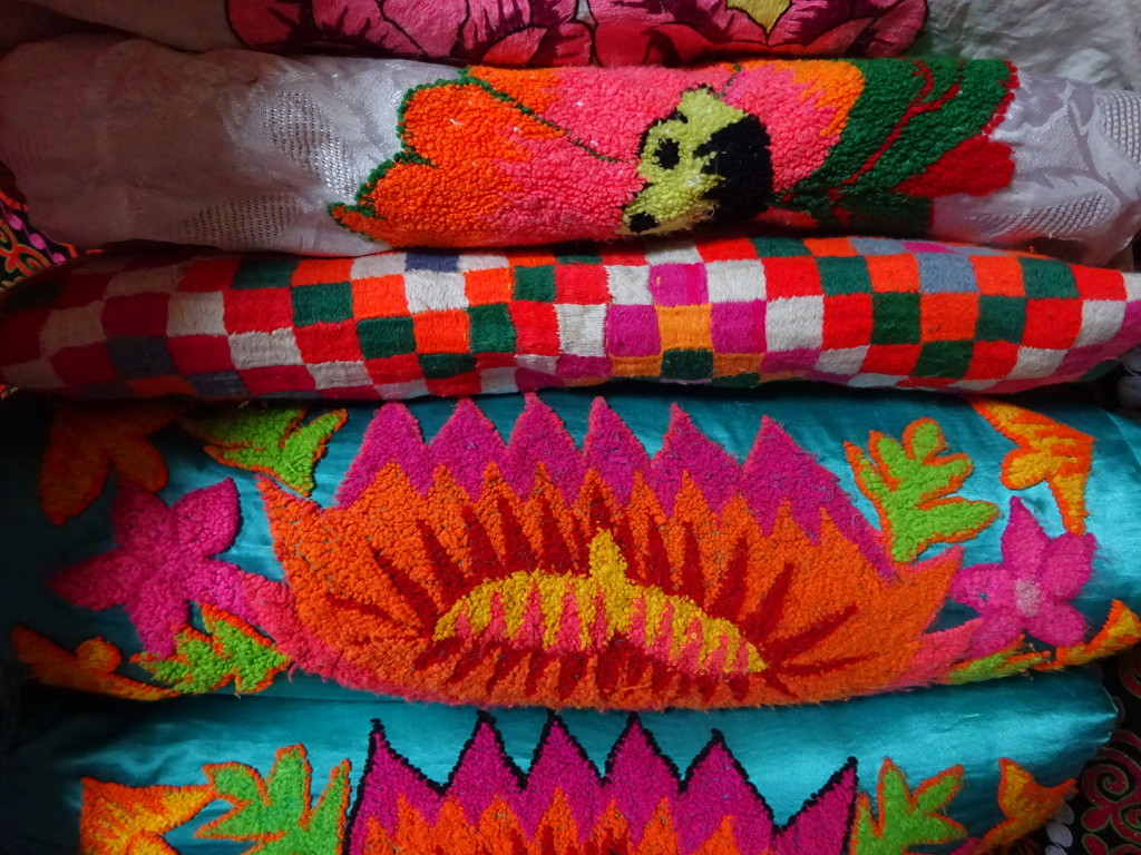 Absolutely love the colors inside the ger. A stack of pillows like this one means the family can take in many guests.