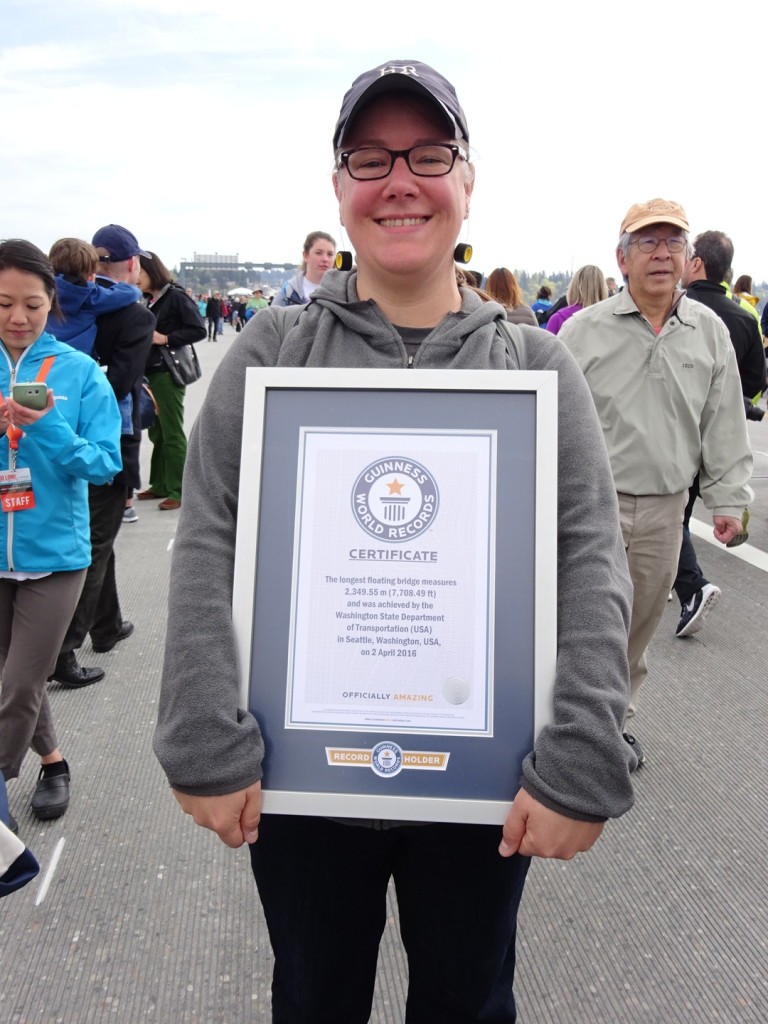 "The Guiness Book of World Record certificate confirming this is the longest floating bridge in the world. Which is good, because throughout our travles when people asked what I do I'd say, ""I worked on the world's longest floating bridge."""
