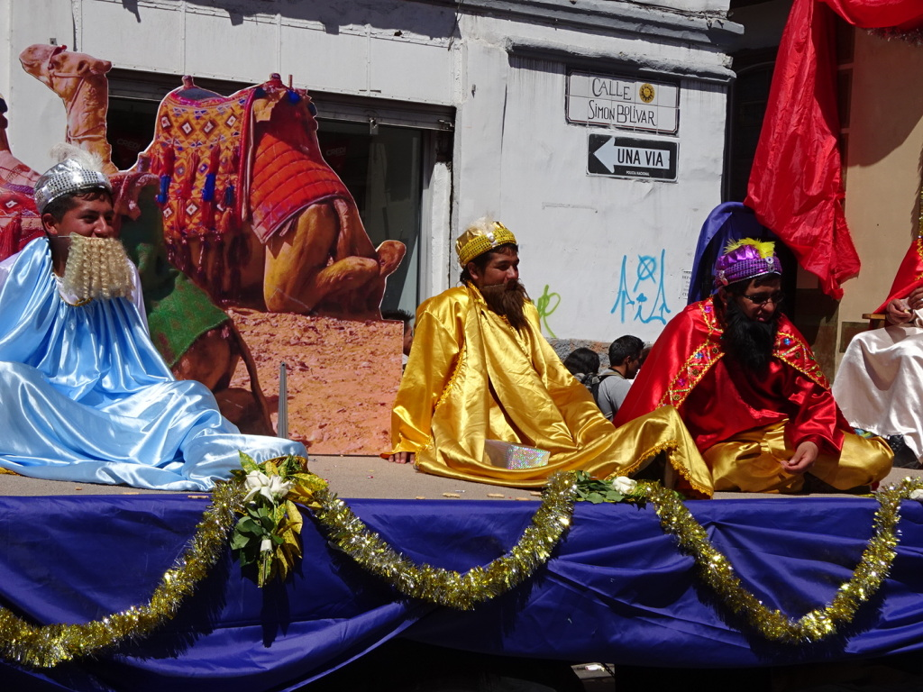 Wiseman rest on their float.