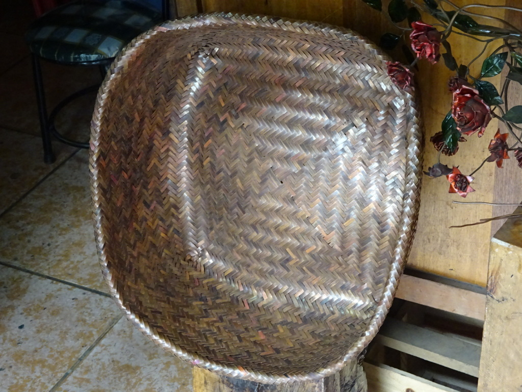 """This basket is woven from perfectly flattened and sized recycled copper. (About 12"""")"""