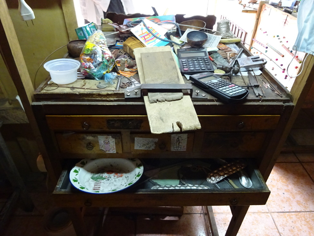One of Marco's workbenches...cluttered like so many an artist!