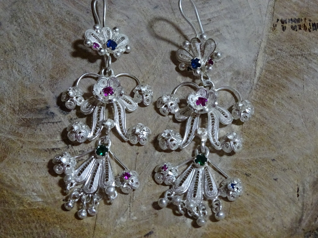 Some of Antonio's filigree earrings made with his own solder and filigree wire!