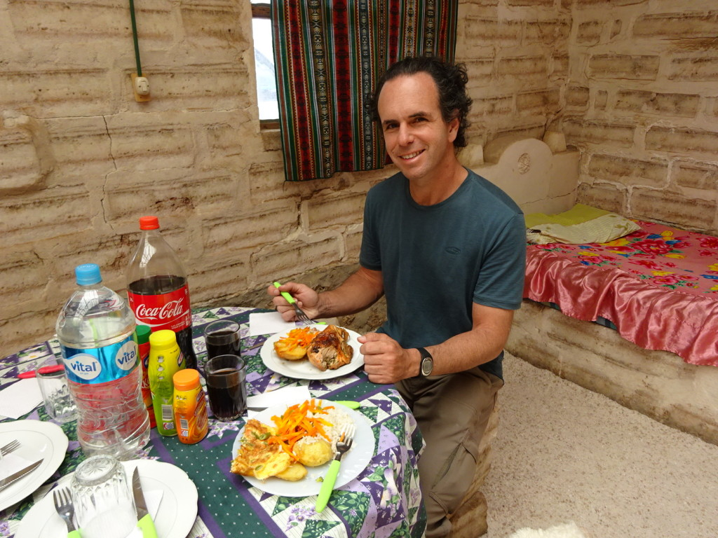 Eating lunch in another salt hostel, at a salt table, on a salt stool. Pretty fun! Lunch was delicious too!