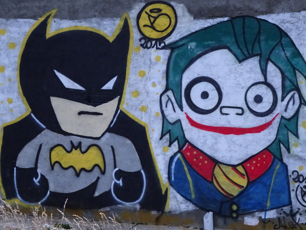 I hadn't realized Batman and the Joker made it this far south, but superheroes and villains are everywhere!
