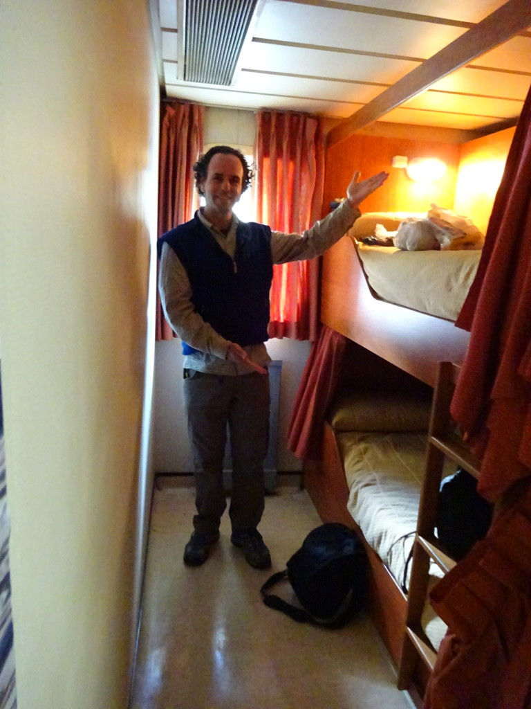 Check out our palacial berthing area! Our own little suite!  Aaron stayed cacoooned in here until lunch time the next day...like a little kid in a fort.  Ahhhhdorable.