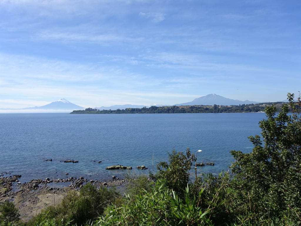 Gorgeous view over the harbor of Puerto Varas. The volcano on the right actually became active three weeks after we left!!!