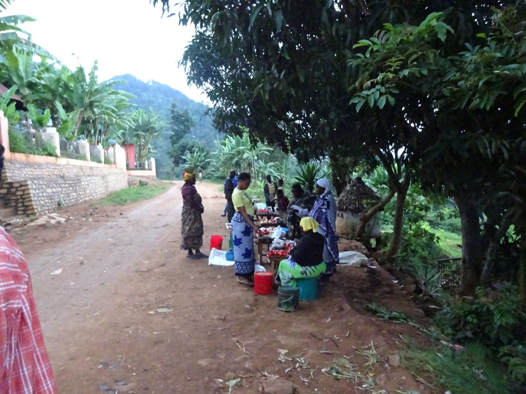 Women selling fruits and veggies in town.