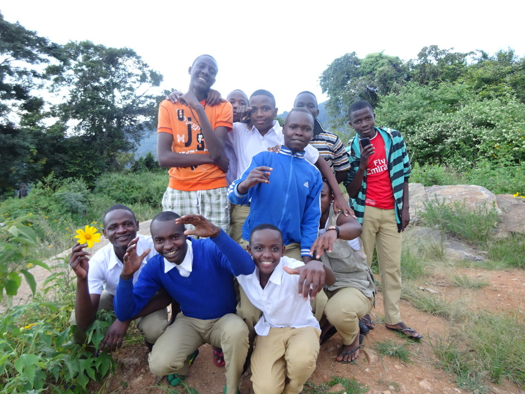 Secondary school students happy to see us wandering the roads in the South Pare Mountains!