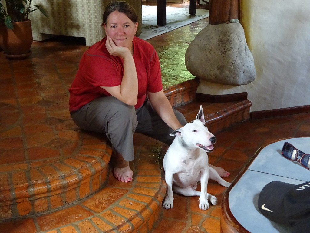 Ecuador. Anner and Doyle rest after a very brisk hour-long walk.