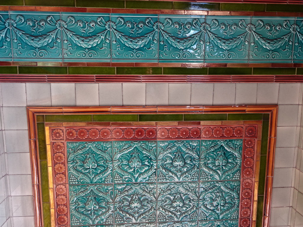 Pretty amazing tile work showed up everywhere in Wales, including the entry way to homes. This was in the museum at the bay.