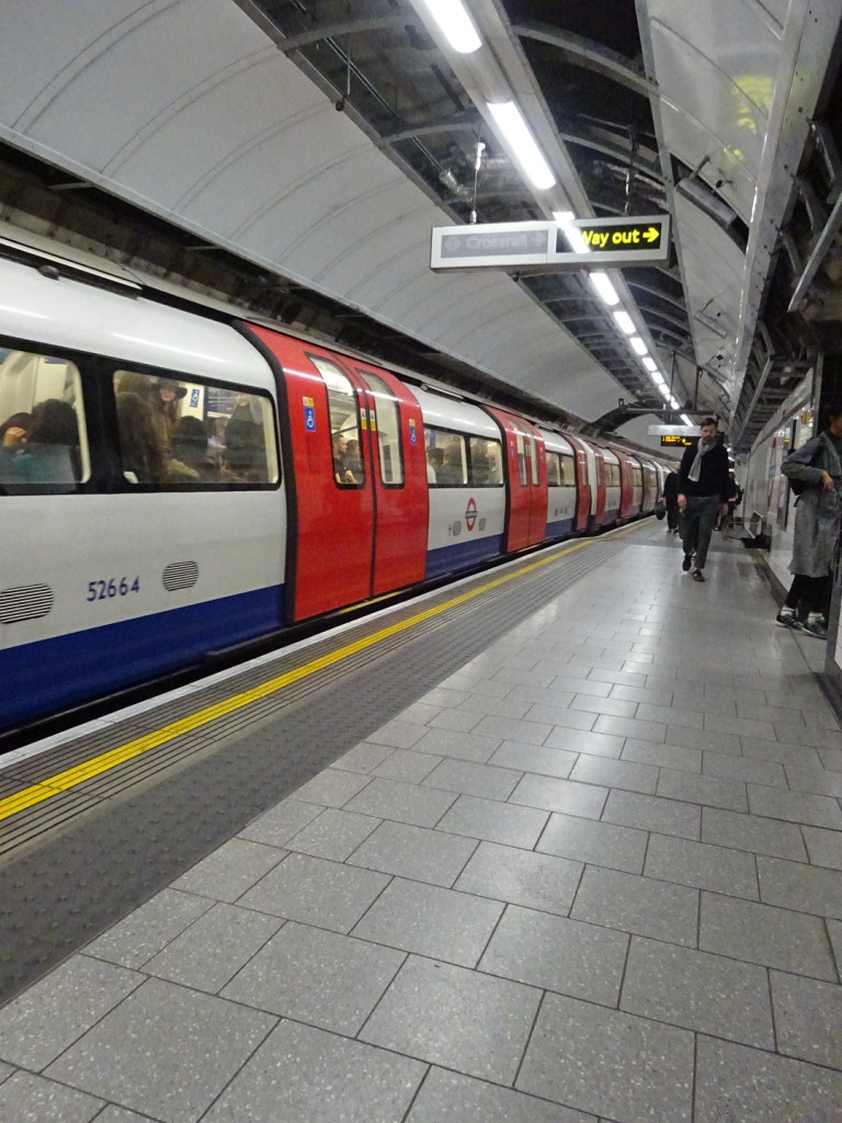 One of our many rides in the Tube. Mind The Gap!