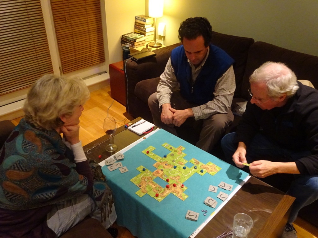Introducing the family to the glory of Carcassonne! Who knew Grace was such a game shark?
