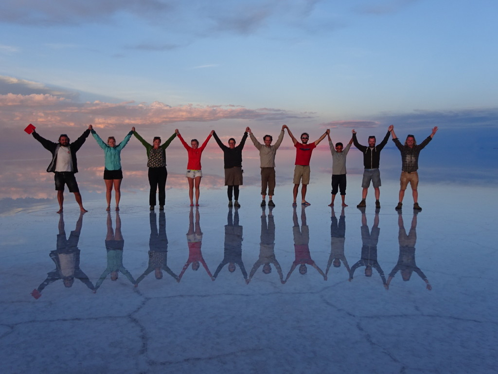 Salar de Uyuni, aka, the Salt Flats of Bolivia. Total mind-blowing experience. Plus we had the most fun with these people here.