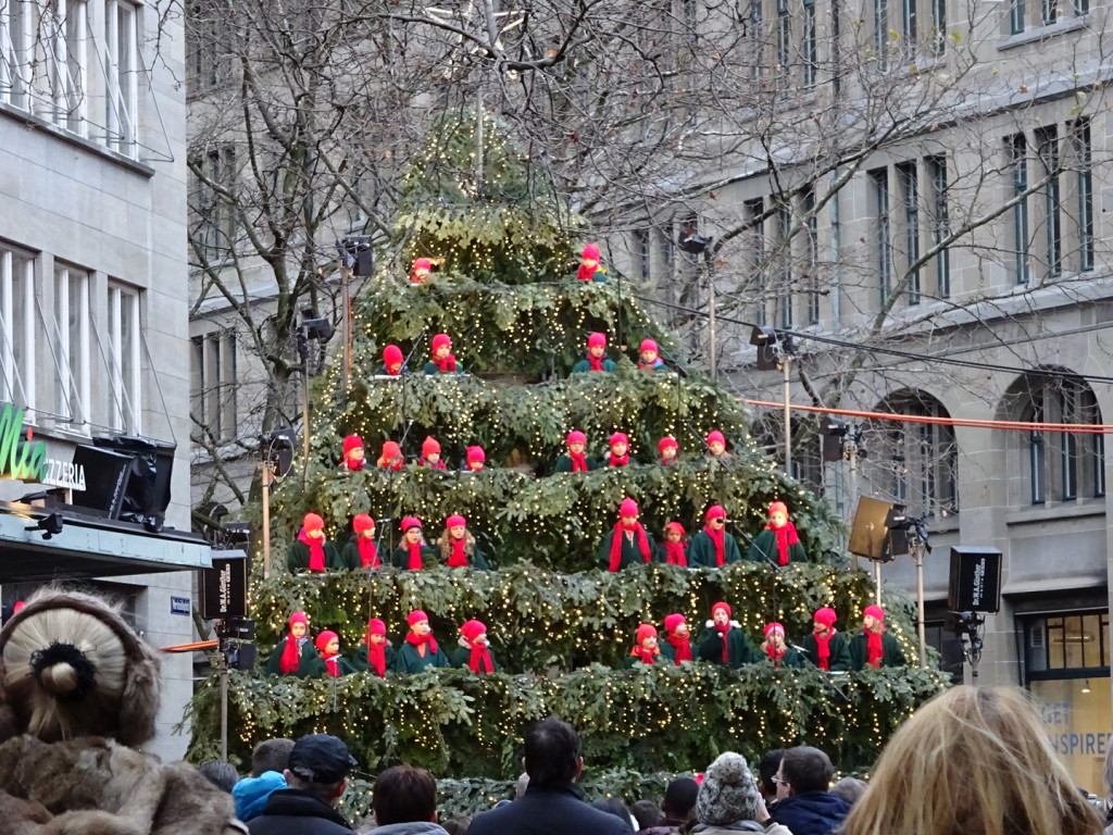 The Living Christmas Tree...throughout the season different groups get up there and carol to the crowds.