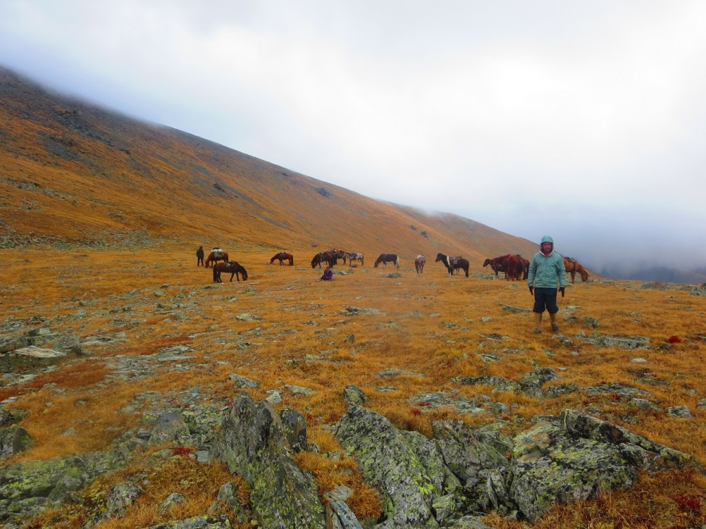The rusty color of the mountain, heavy clouds rolling over, the horses and my fella. Love it all!
