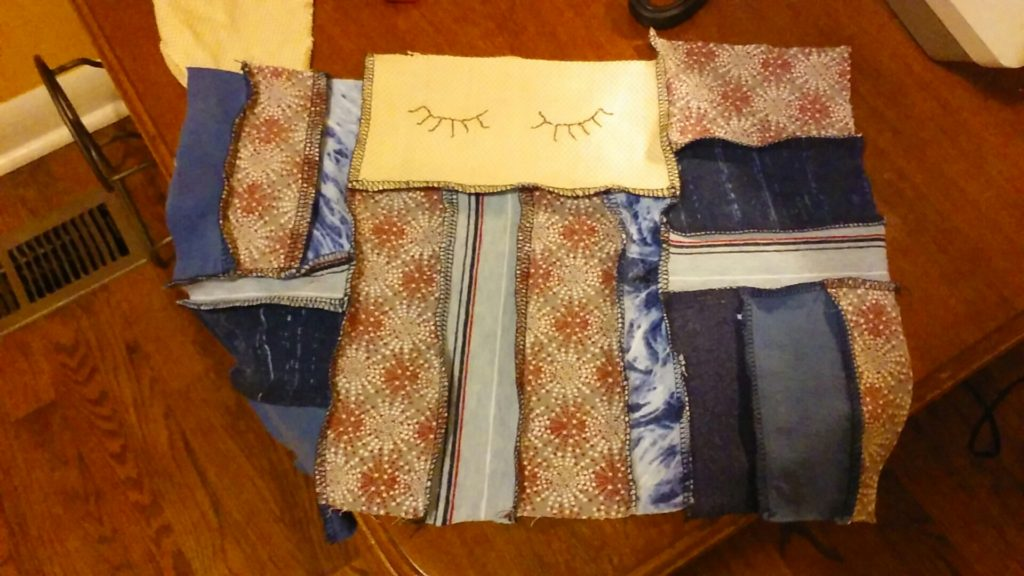 Anner embroidered the eyes while I did the rest.